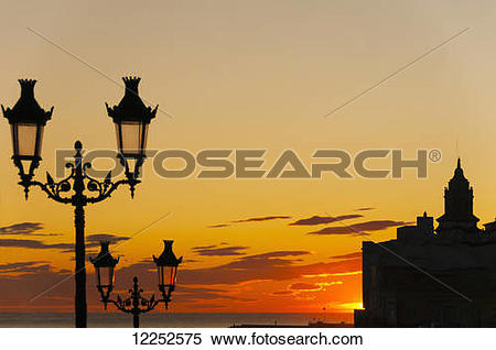 Stock Image of Sunset in the beautiful Sitges downtown, village.