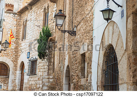 Stock Images of Medieval street in Sitges old town, Spain.