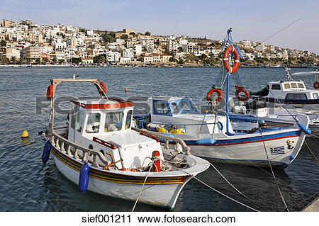 Stock Photography of Greece, Crete, Sitia, Fishing boats moored at.