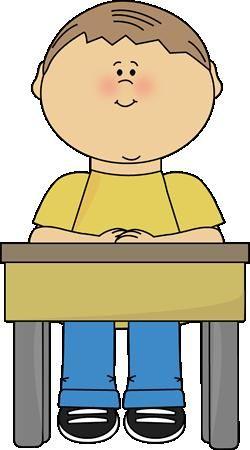 boy sitting at school desk clipart.