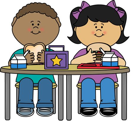 Kids Sitting At Lunch Table Clipart.