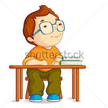 Child Sitting In Chair At The Table Clipart.