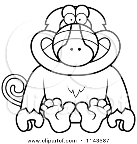 Cartoon Clipart Of A Black And White Sitting Baboon Monkey.