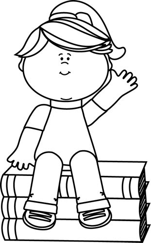 Black and White Girl Sitting on Books and Waving Clip Art.