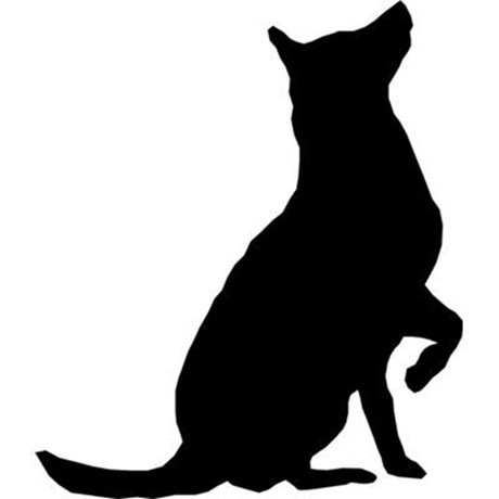 Dog Sitting Silhouette Clipart.