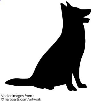 Sitting Dog Silhouette Vector.
