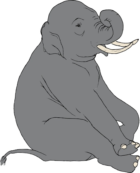 Sitting Elephant clip art Free vector in Open office drawing svg.