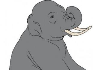 Sitting Elephant clip art.