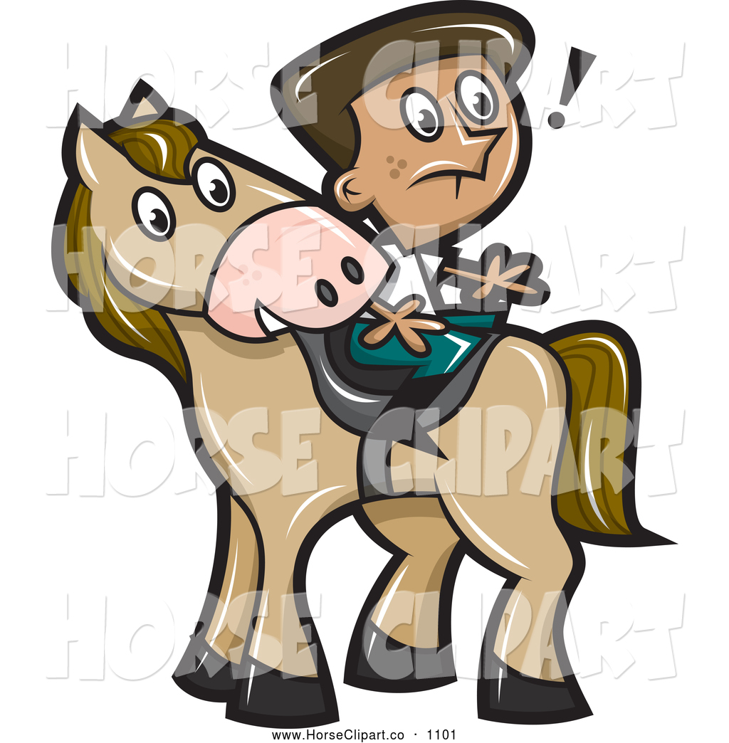 Clip Art of a Surprised Boy Sitting Backwards on a Horse by.