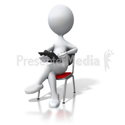 Stick Figure Sitting In Chair Clipboard.