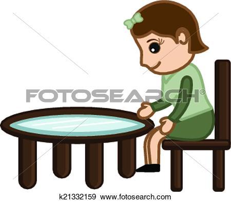 Clip Art of Cartoon Girl Sitting on Chair k21332159.