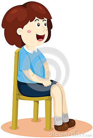 Cute Girl Sitting On Chair Stock Photo.