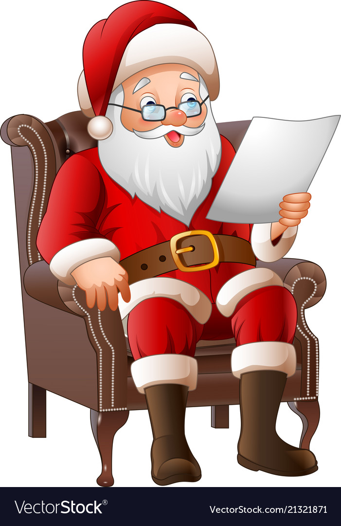 Cartoon santa claus sitting at his armchair and re.