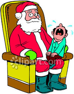 A Child Crying, Sitting on Santa Claus\' Lap Royalty Free.