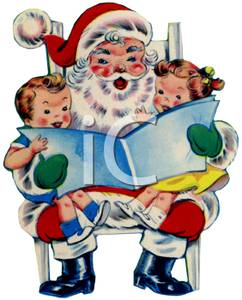 Two Children Sitting on Santa\'s Lap Clipart Image.
