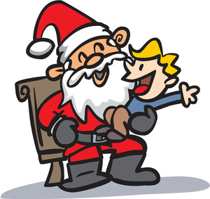 Clipart Image of a Happy Boy on Santa\'s Lap.