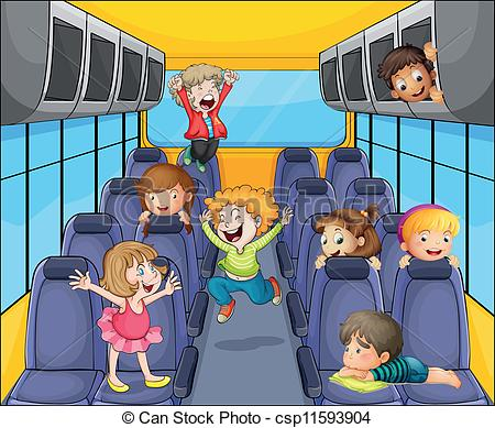 Vector Clipart of kids in the bus.