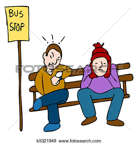Clip Art of Man sitting on a bench with a teddy bear at a bus stop.