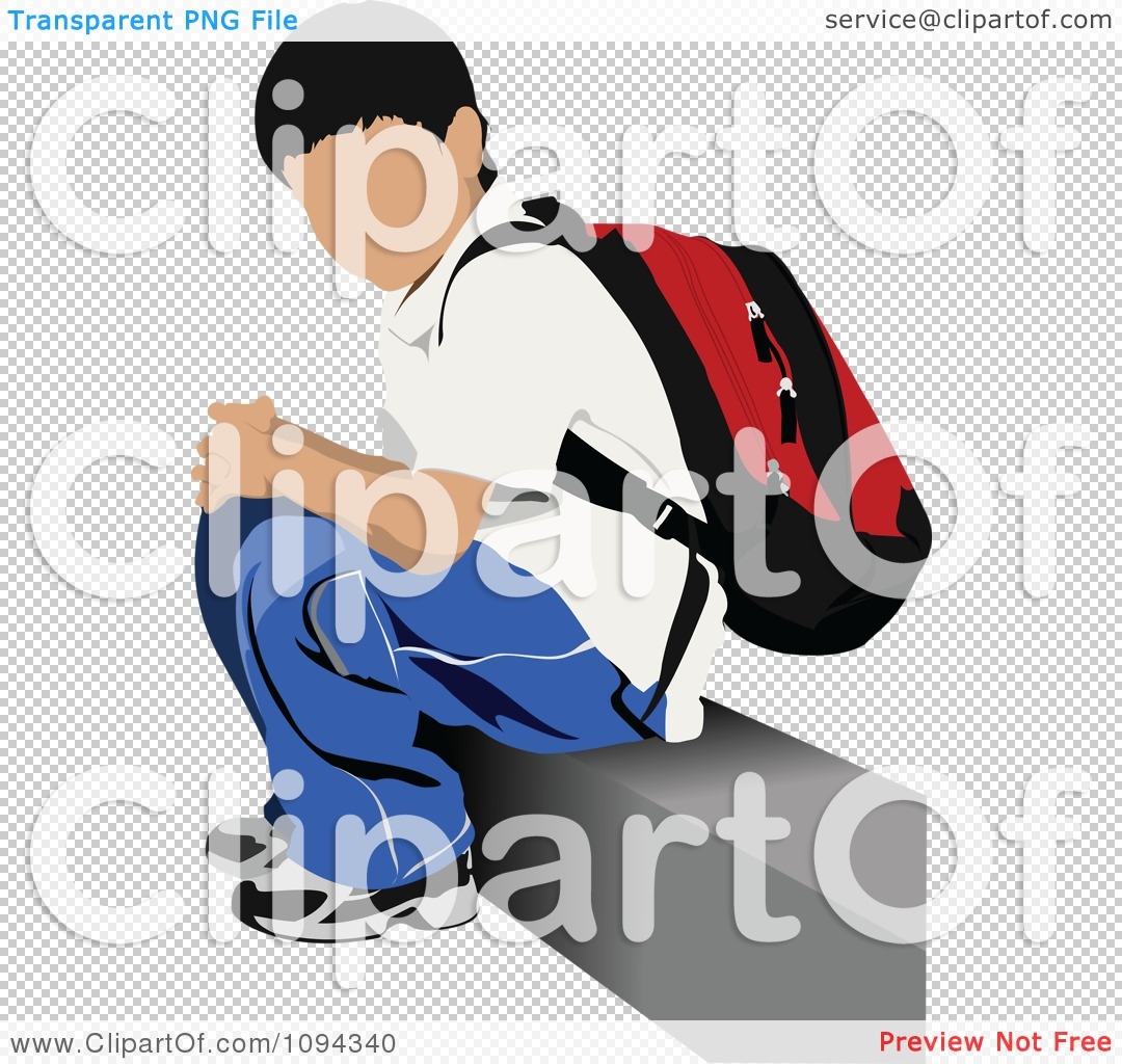Clipart School Boy Waiting At A Bus Stop 3.