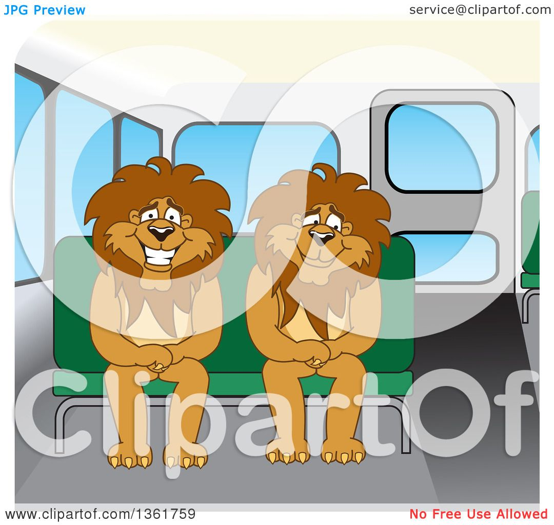 Clipart of Lion School Mascot Characters Sitting on a Bus Bench.