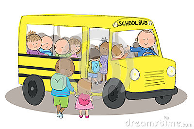 School Bus Children Stock Photo.