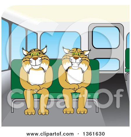Clipart of Bobcat School Mascot Characters Sitting on a Bus Seat.