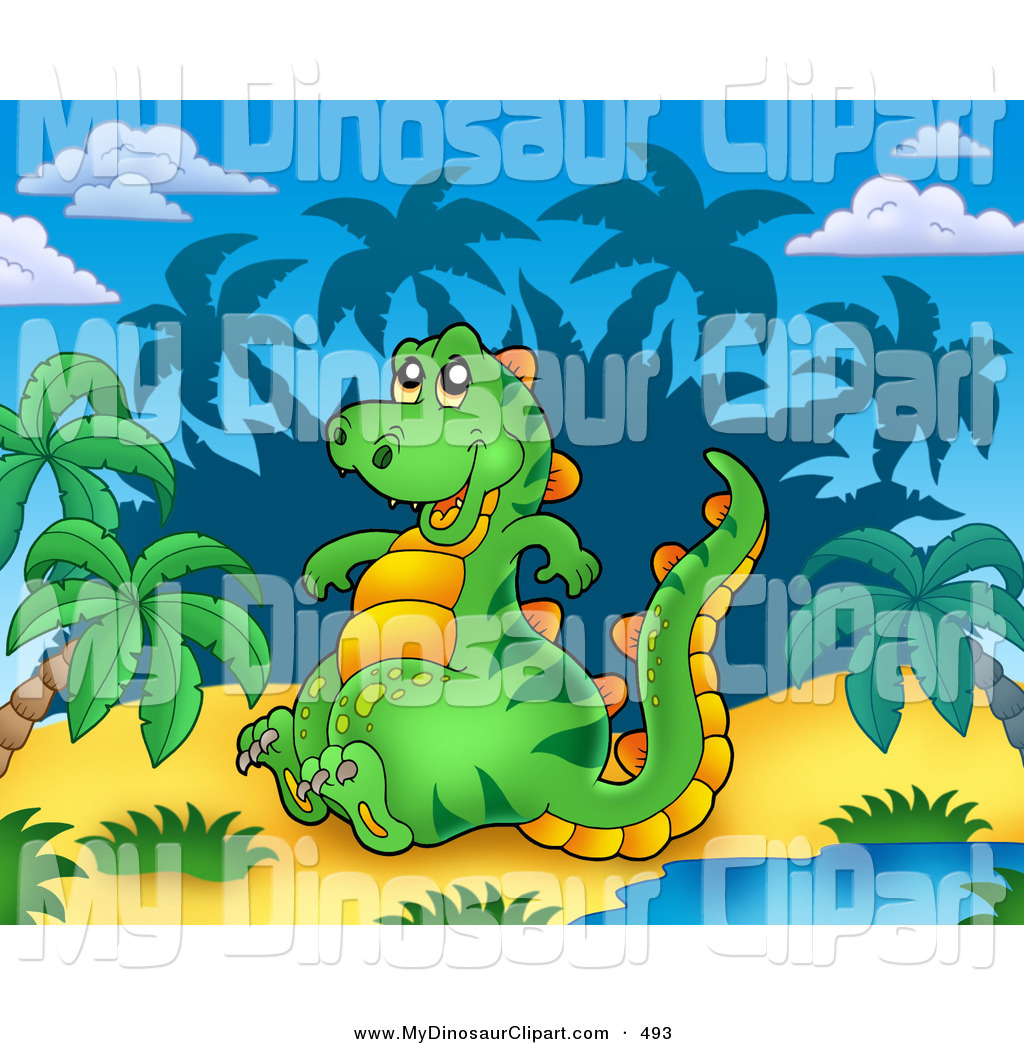 Clipart of a Cute Dinosaur Sitting by a Water Hole in a Tropical.