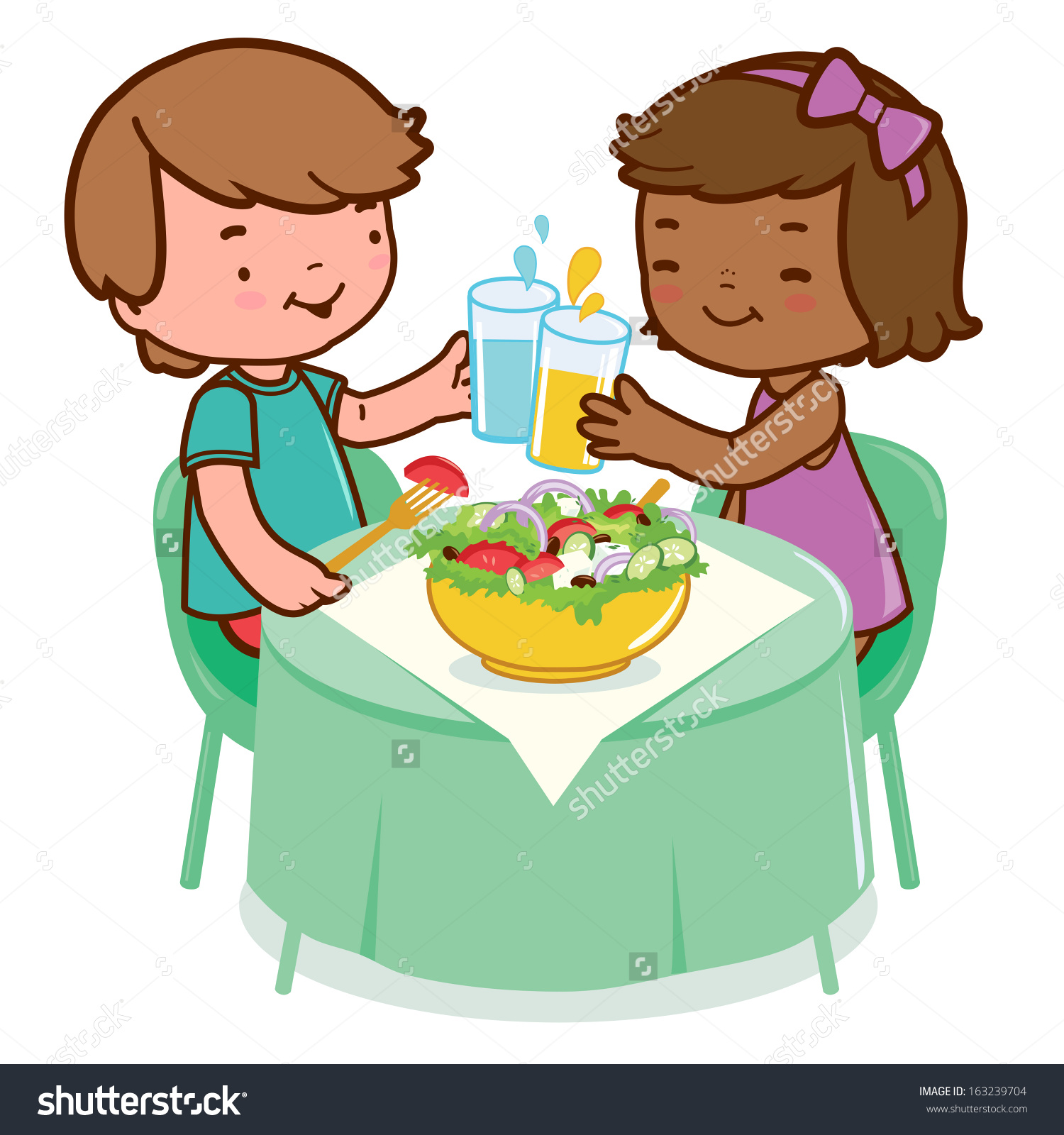 Kid Eats Dinner Clipart