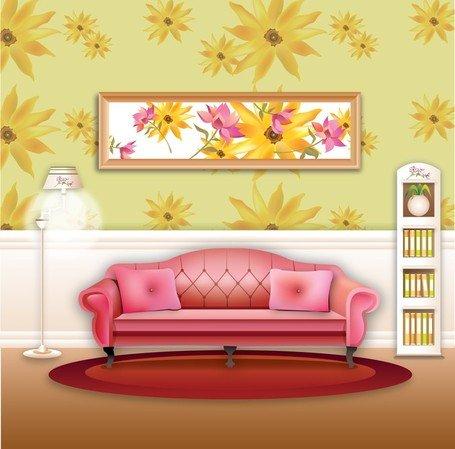 Modern Living Room Clip Art, Vector Modern Living Room.