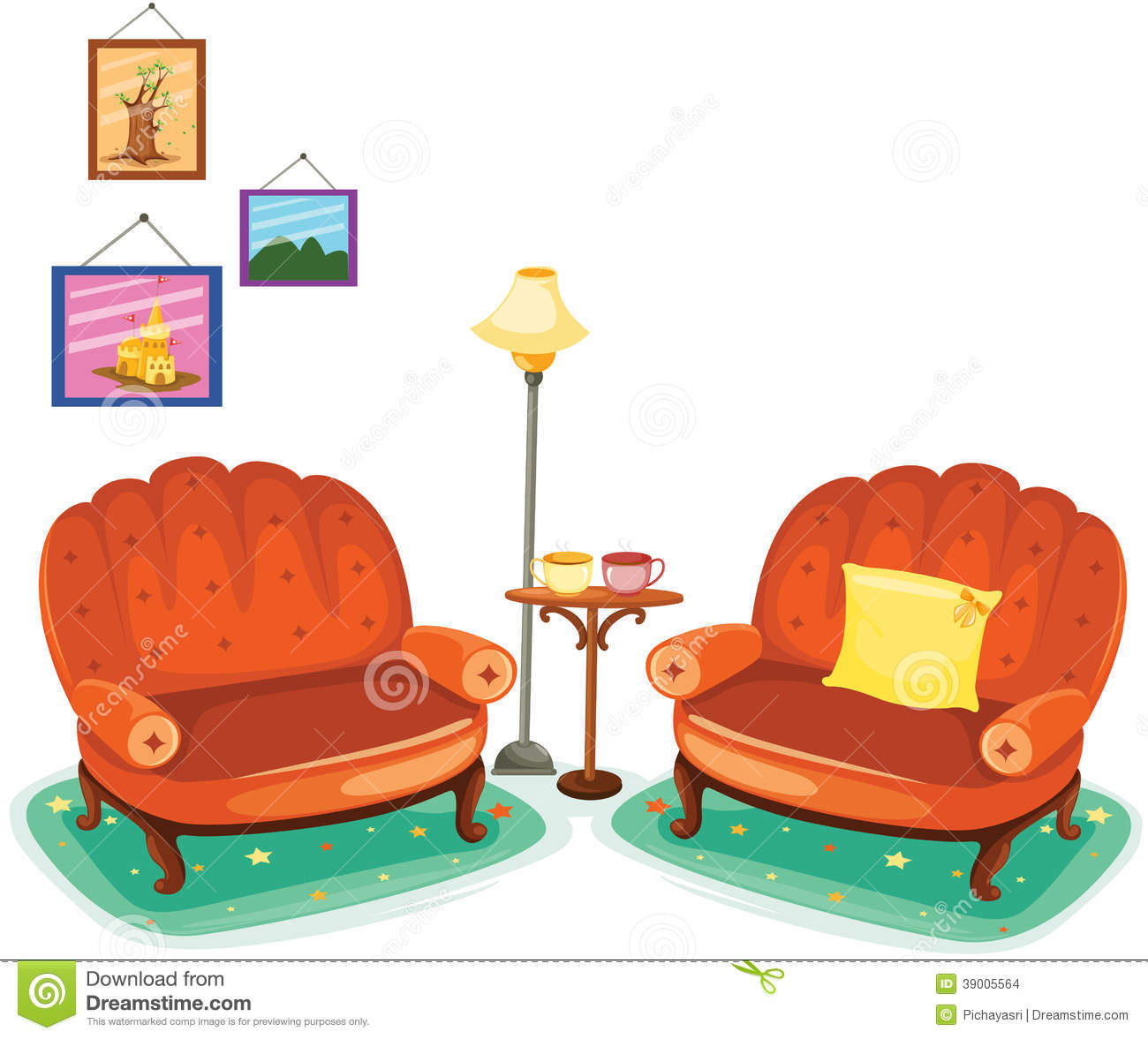 Couch Living Room Clip Art.