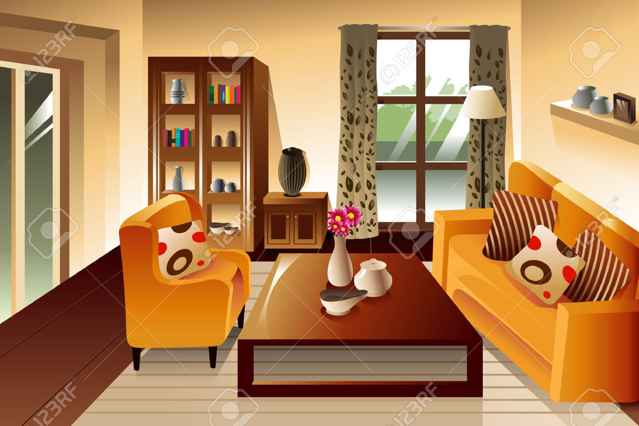 Illustration Of Modern Living Room Space Royalty Free Cliparts.