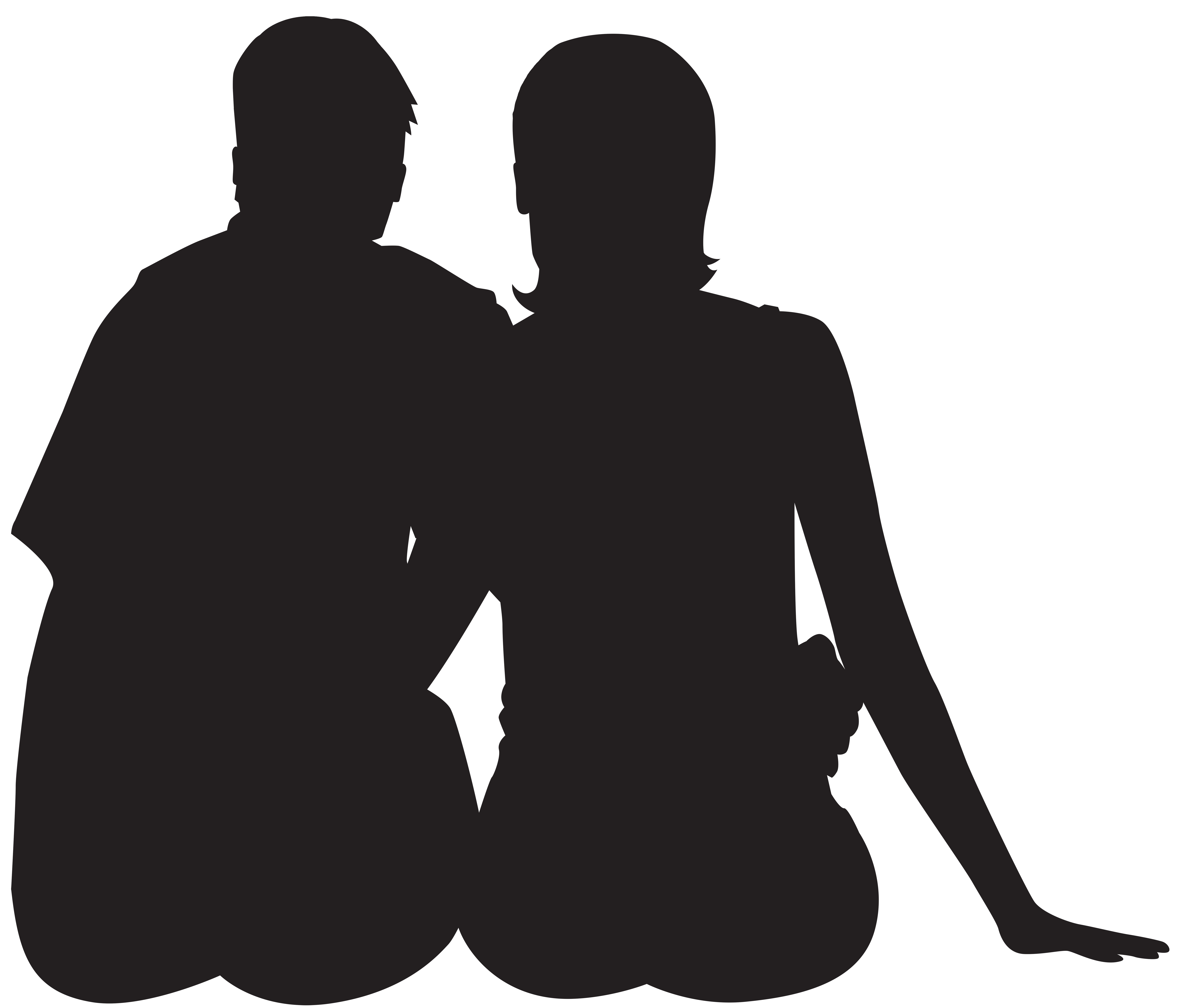 Sitting Couple Silhouette PNG Clip Art Image.