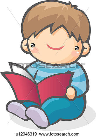 Clip Art of book, boy, reading, sitting, child, clothes u12946319.