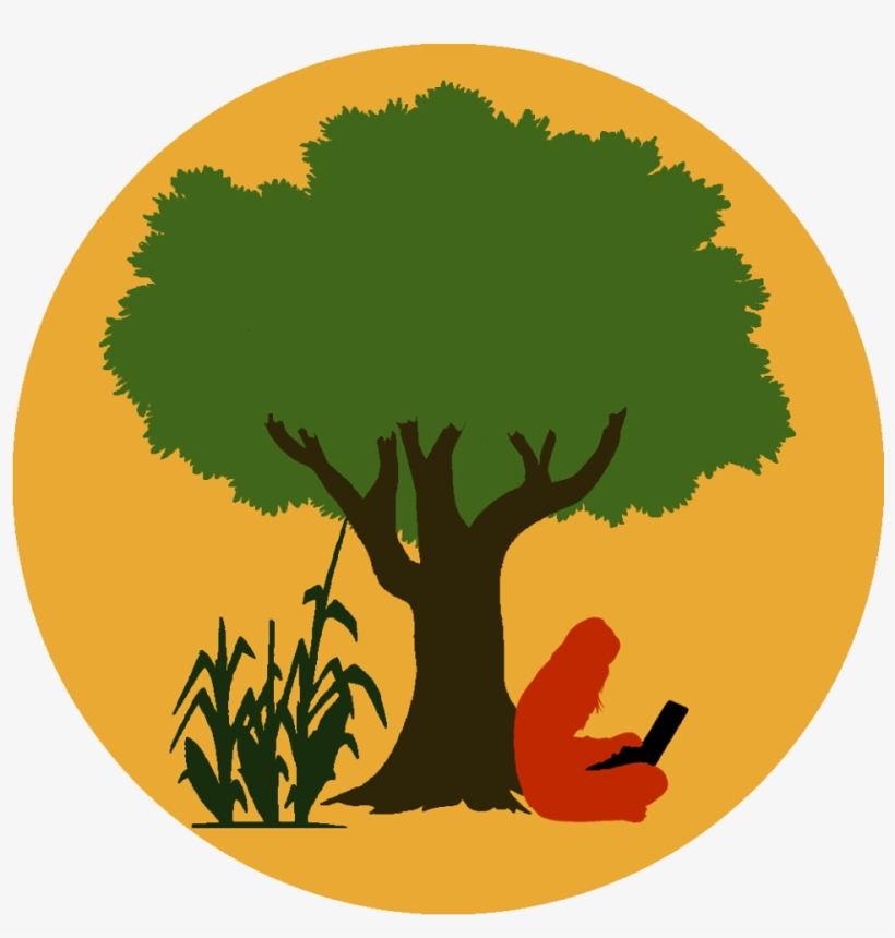 Logo Of Eco Hack Farm, A Person Sitting Under A Tree.
