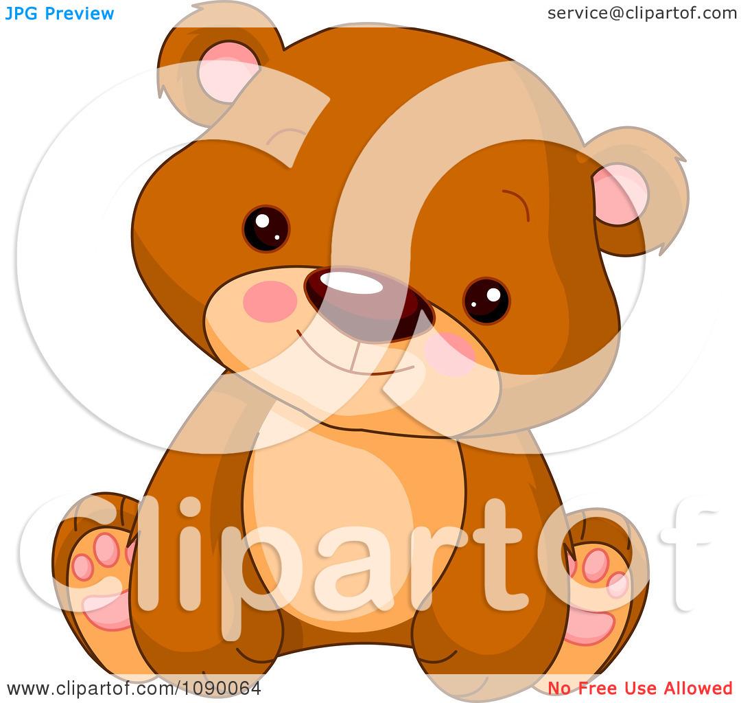 Clipart Cute Bear Cub Sitting Upright.