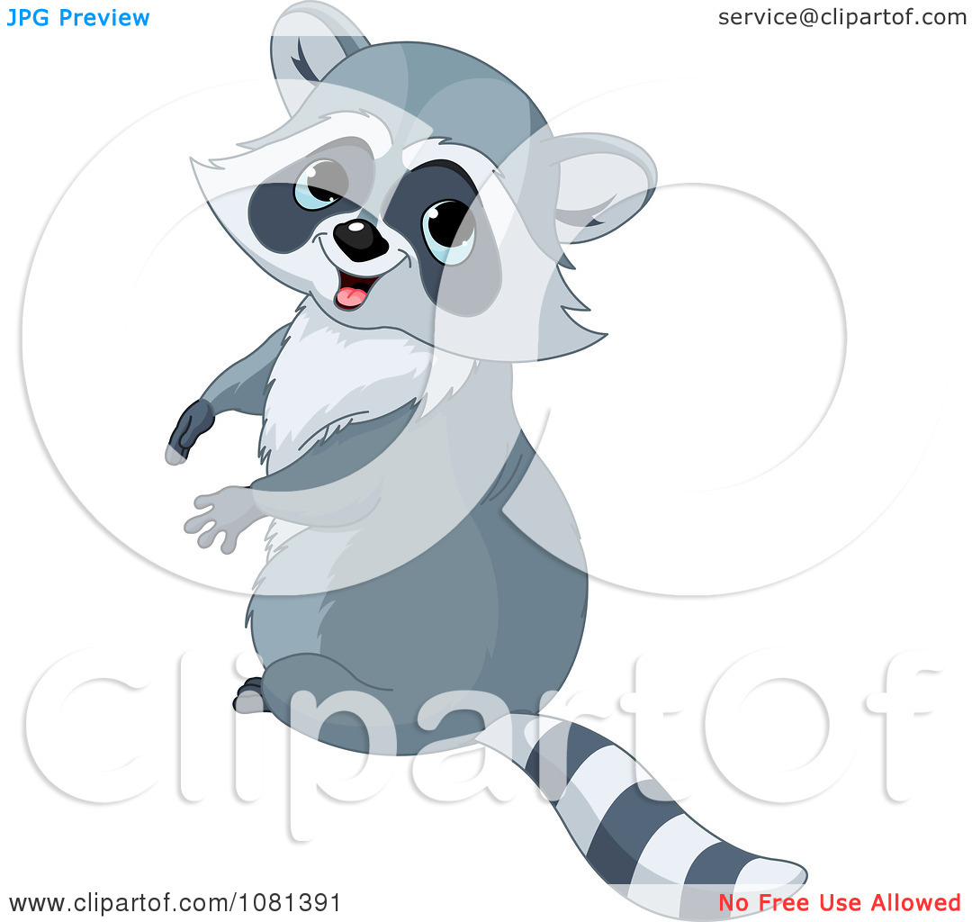 Clipart Cute Raccoon Sitting Upright And Looking Back.