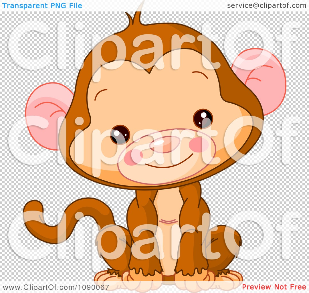 Clipart Cute Baby Monkey Sitting Upright And Smiling.