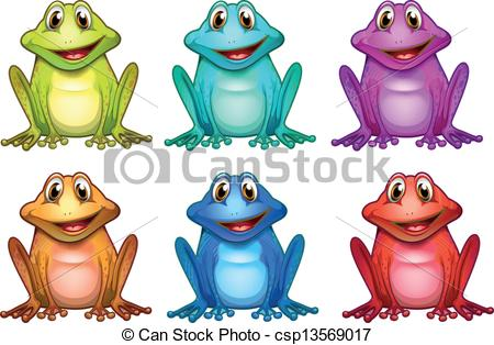 Vector Clip Art of Six different colors of frogs.