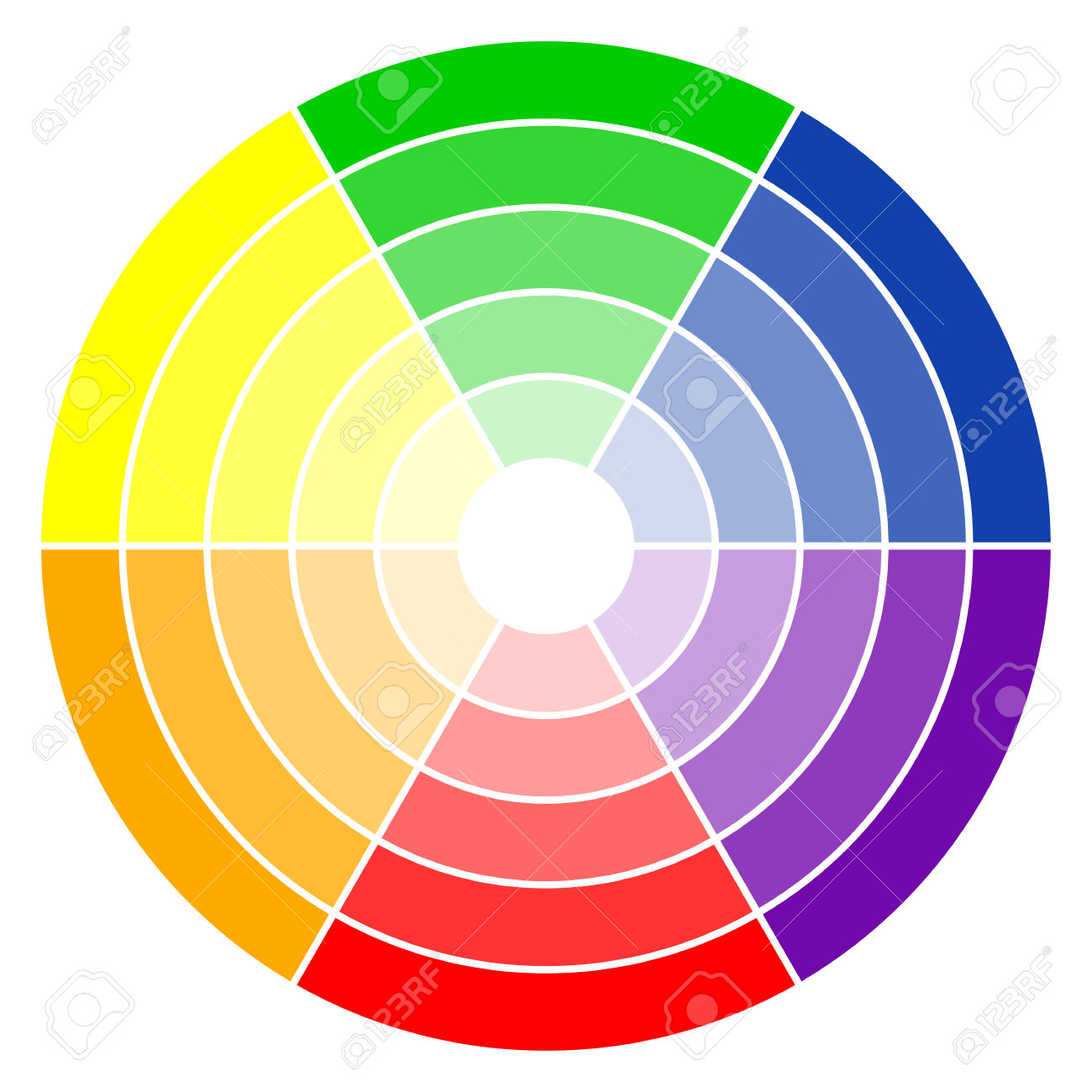 Illustration Of Printing Color Wheel With Six Colors In Gradations.