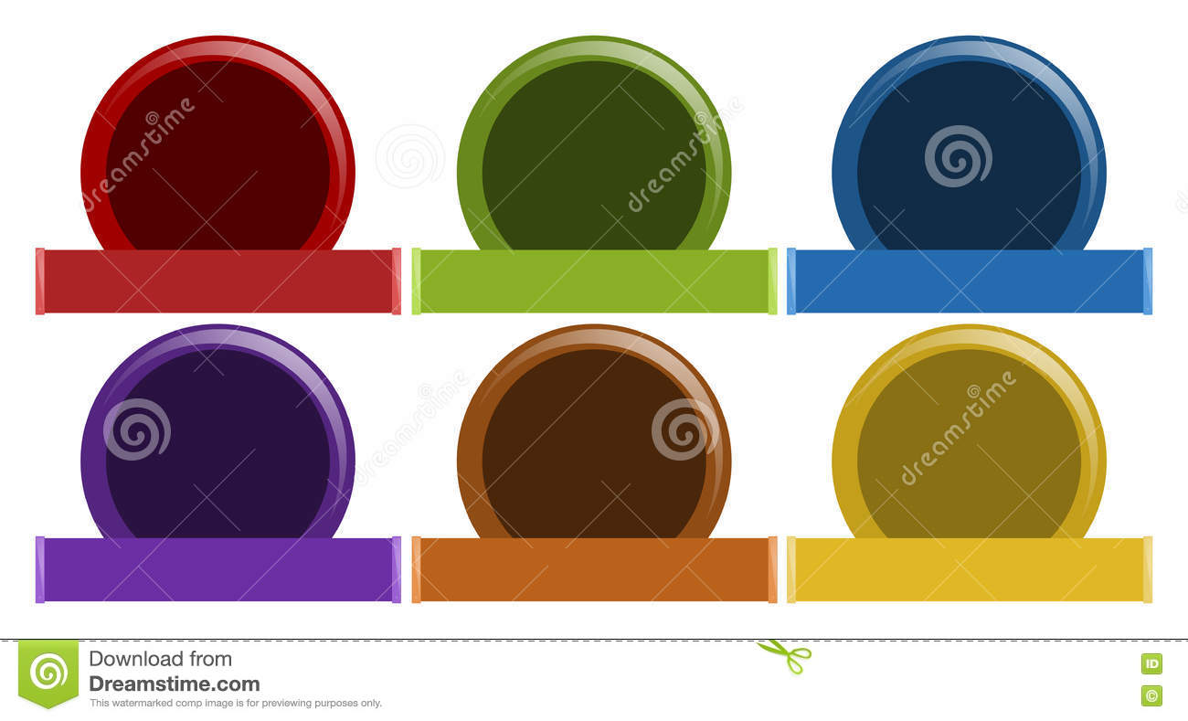 Label Design In Six Colors Stock Vector.