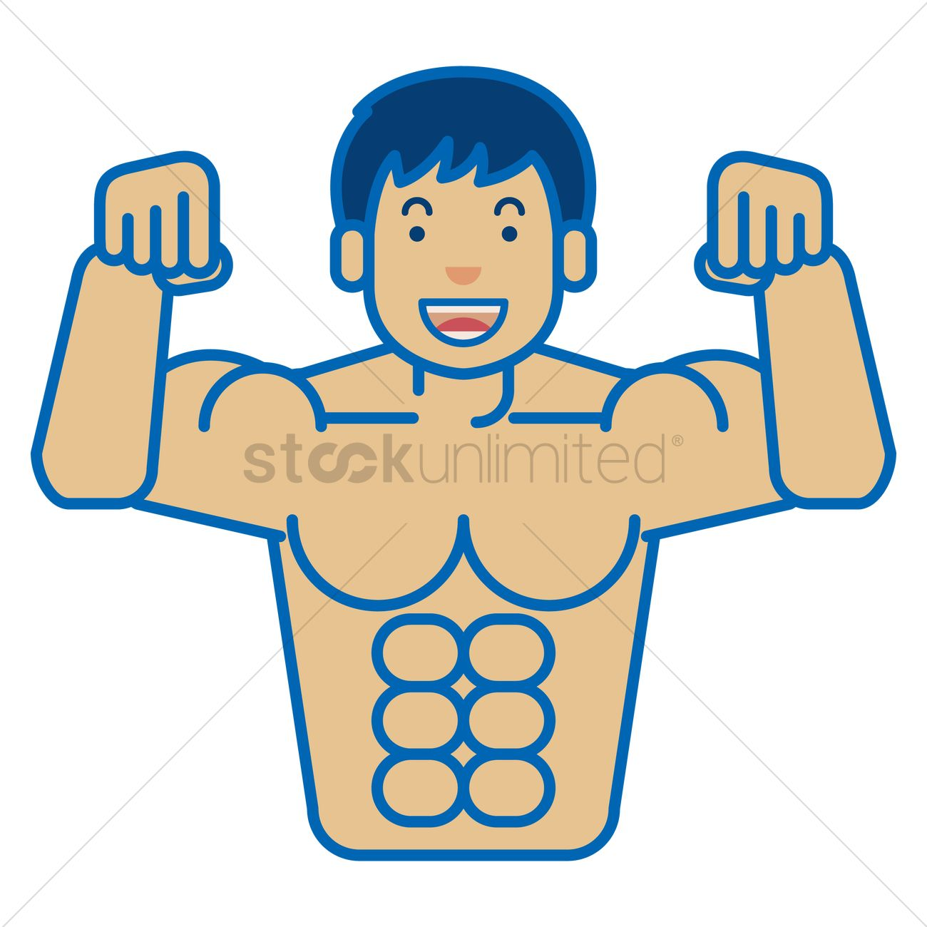 A man showing his six pack Vector Image.