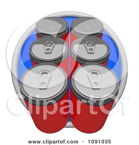 Clipart 3d Blue Circular Six Pack Soda Or Beer Can Icon Button.