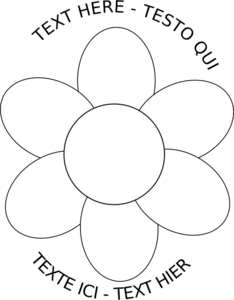 Flower Six Petals Black Outline With Upper And Lower Text Clip Art.