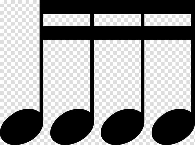 Black music note silhouette, Sixteenth note Eighth note.