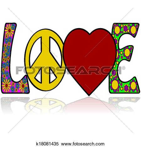 Clipart of Love in the Sixties k18081435.
