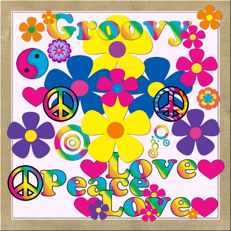 Sixties Flower Power Clip Art Graphics.