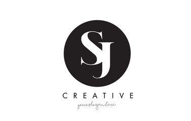 SJ Letter Logo Design with Black Circle and Serif Font..