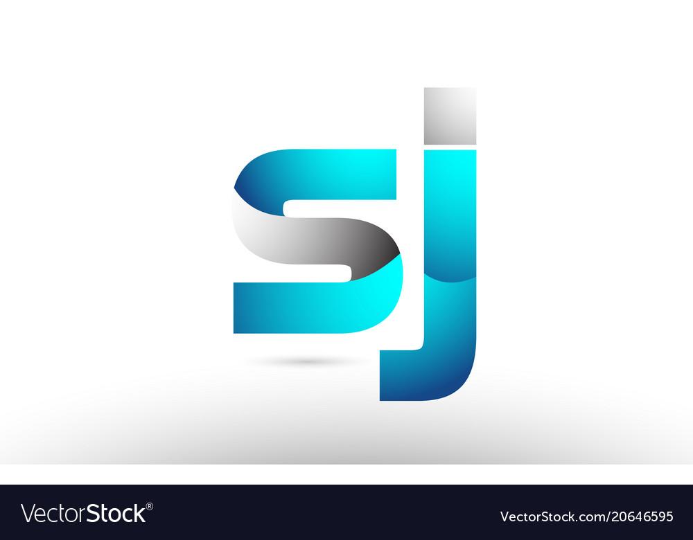 Grey blue alphabet letter sj s j logo 3d design.