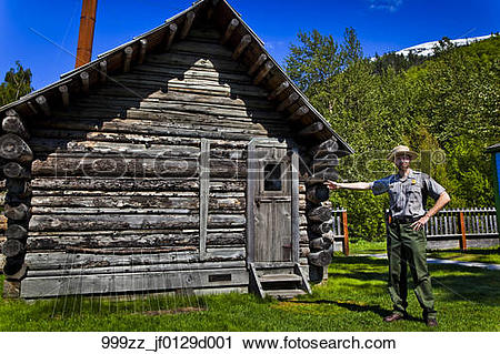 Stock Photography of National Park Ranger guide at the Historic.