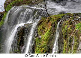 Stock Photographs of Panther Creek Falls in Skamania County.